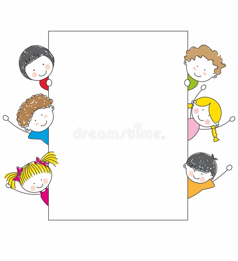 Cute cartoon kids frame stock vector. Illustration of face - 21377018