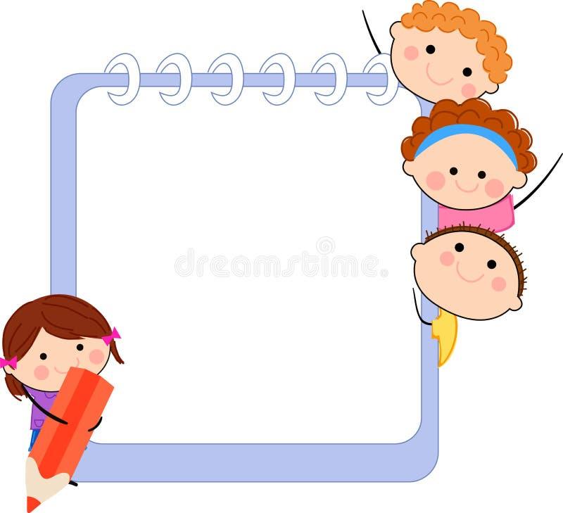 Cute cartoon kids frame stock illustration