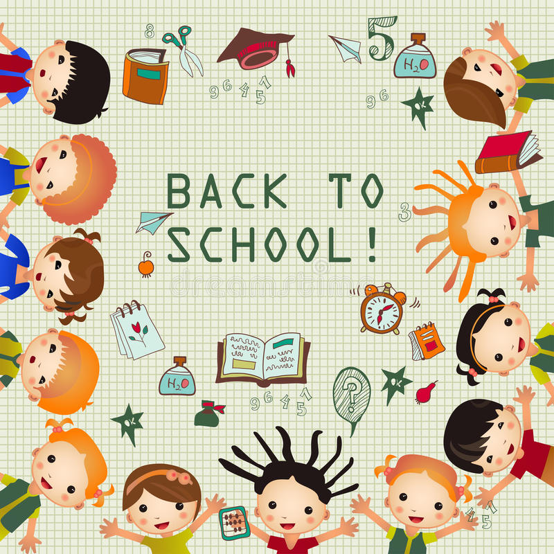 Cute cartoon kids frame. Place for your text stock illustration