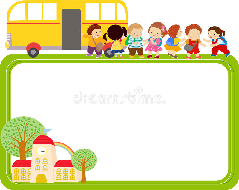 Cute cartoon kids and school bus frame royalty free illustration