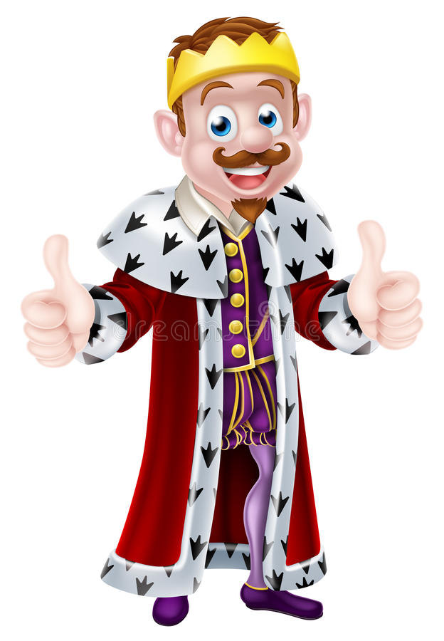Cute Cartoon King. Drawing of a cartoon king character wearing a crown and ermine cape, giving a double thumbs up vector illustration