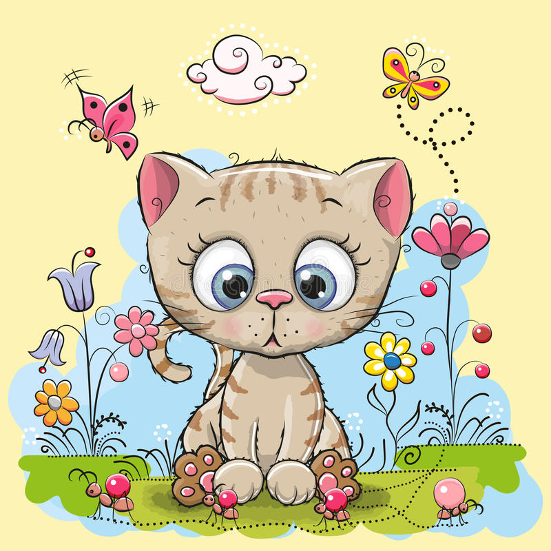 Cute Cartoon Kitten vector illustration