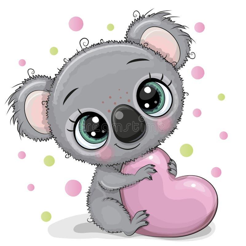 Free Cute Cartoon Koala With Heart Stock Photography - 143735842