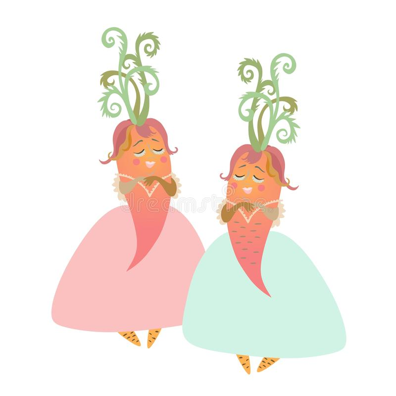 Cute cartoon ladies - carrot in beautiful dress. Charming personages. Illustration for children`s books. Vector image royalty free illustration