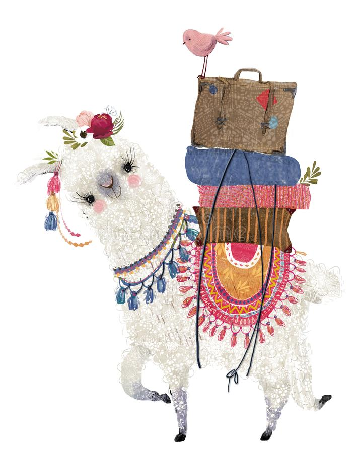 Cute cartoon lama with bird and bags royalty free stock image