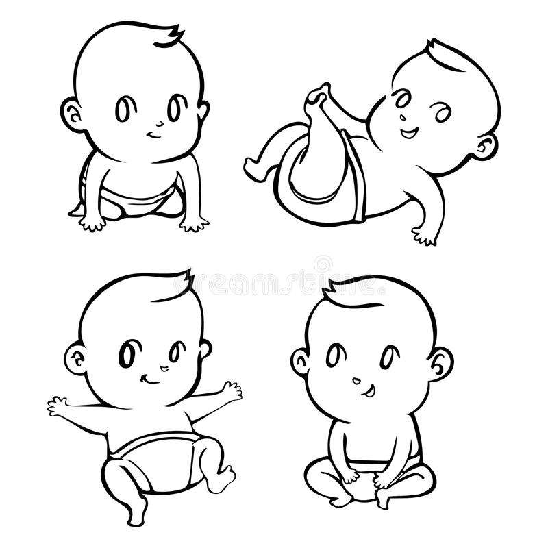 Cute cartoon little babies set outline. Vector illustration royalty free illustration