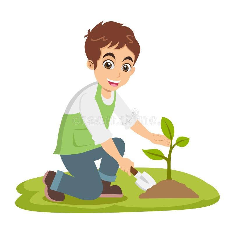 Cute cartoon little boy plant a tree vector illustration