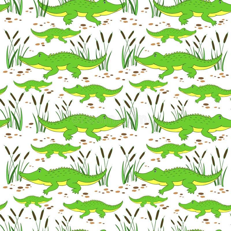 Cute cartoon little crocodile in reed isolated on white background, Vector doodle Illustration alligator, wild animal stock illustration