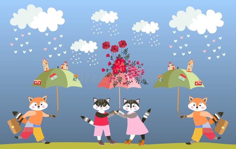 Cute cartoon little foxes and kittens with fairy umbrellas. Greeting card for child. Vector summer design.  stock illustration
