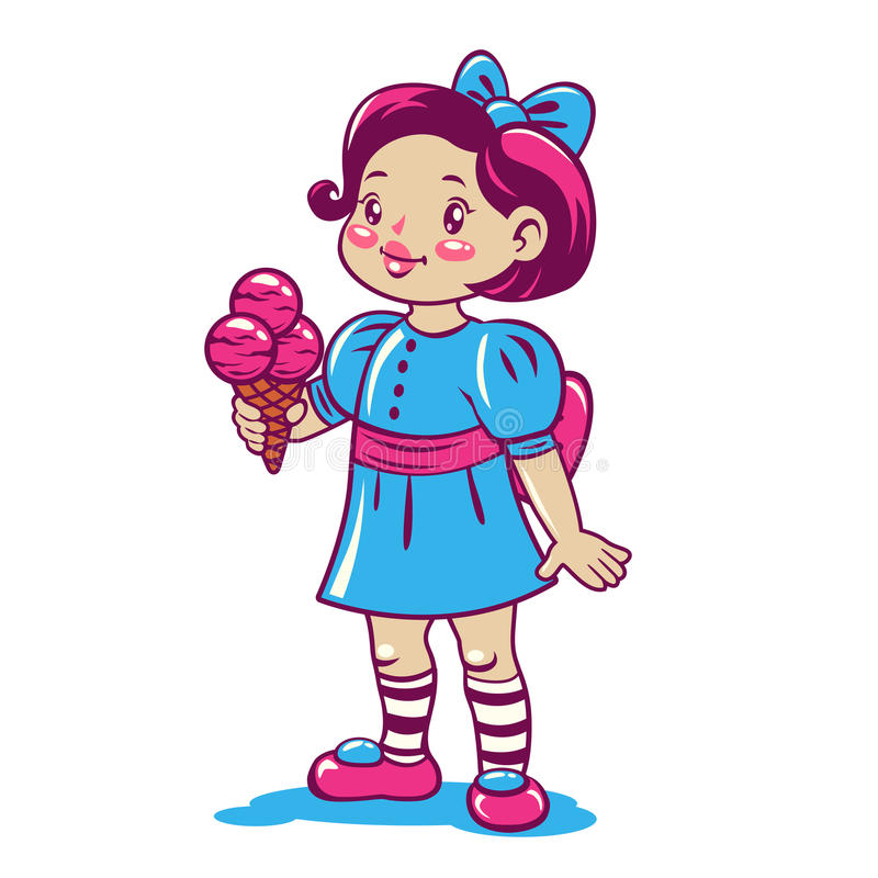 Cute cartoon little girl with ice cream royalty free illustration