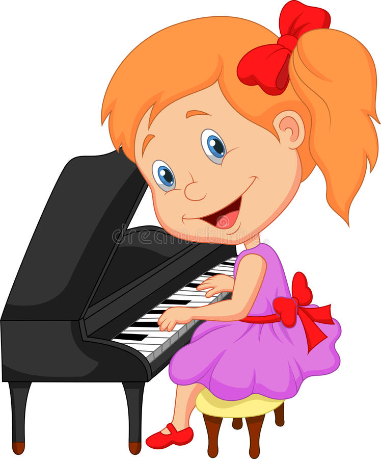 Cute cartoon little girl playing piano royalty free illustration