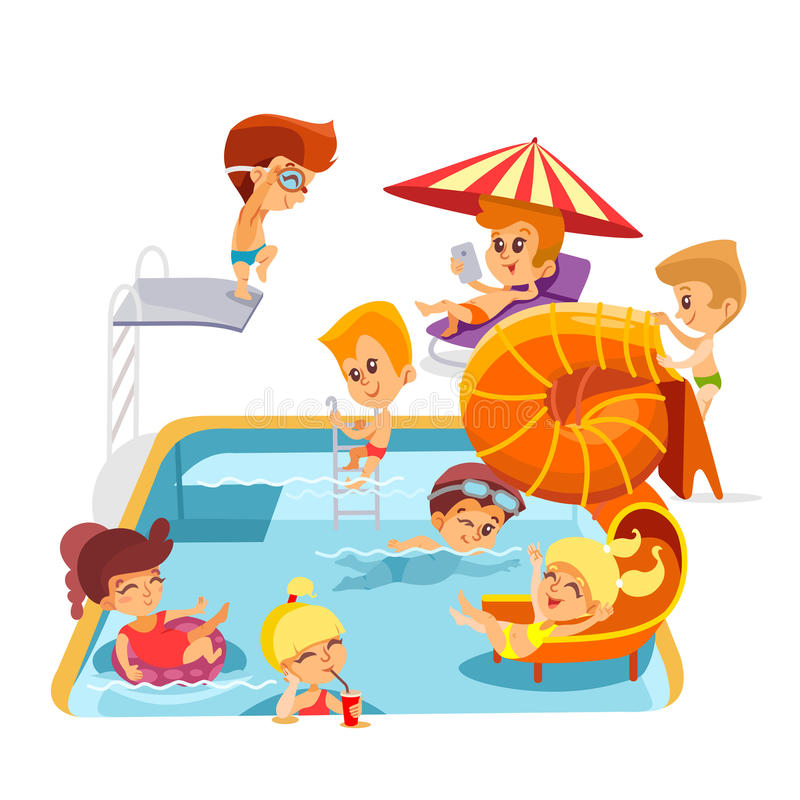 Cute cartoon little kids playing in swimming pool. Group of cartoon little kids playing in swimming pool. Vector illustration isolated on white background stock illustration