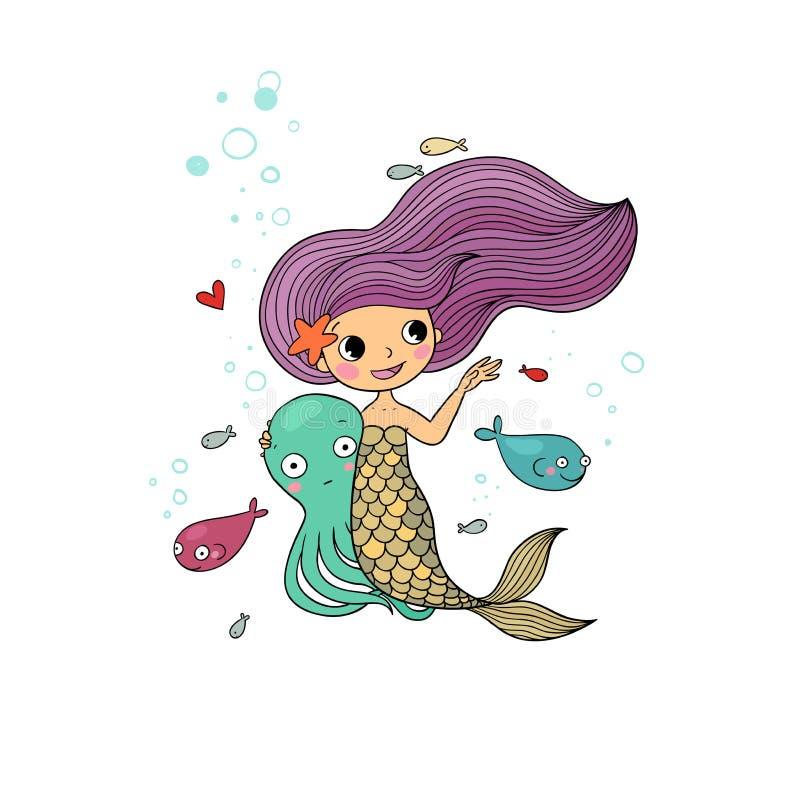 Cute cartoon little mermaid. Siren. Sea theme. vector illustration
