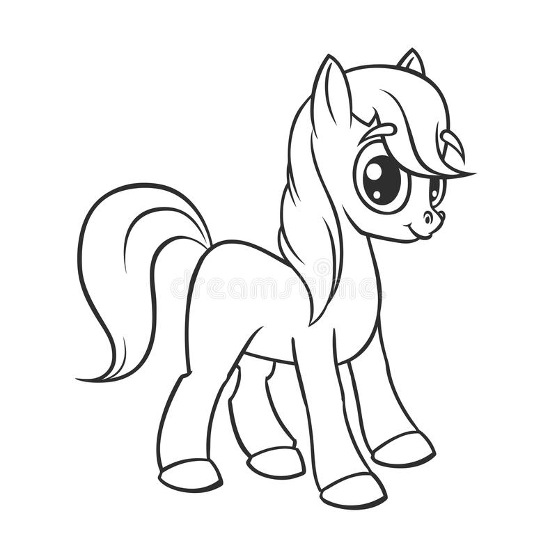 Cute cartoon little white baby horse , beautiful pony princess character, vector illustration isolated on white outlined. Cute cartoon little white baby horse royalty free illustration