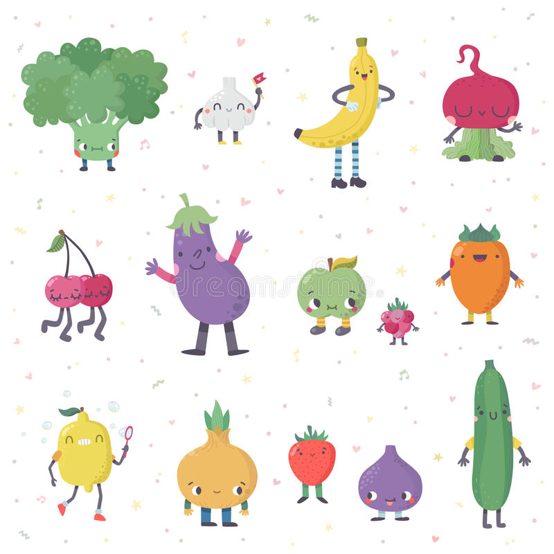 Cute cartoon live fruits and vegetables vector set. Part two. Cute cartoon live fruits and vegetables vector set. Funny characters in nice colors. Part two royalty free illustration