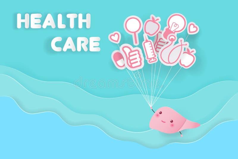 Cute cartoon liver royalty free illustration
