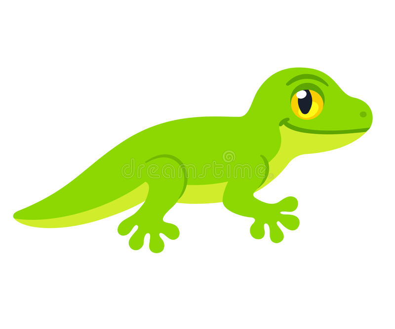 Cute cartoon Lizard. Character vector drawing. Little green smiling reptile illustration stock illustration