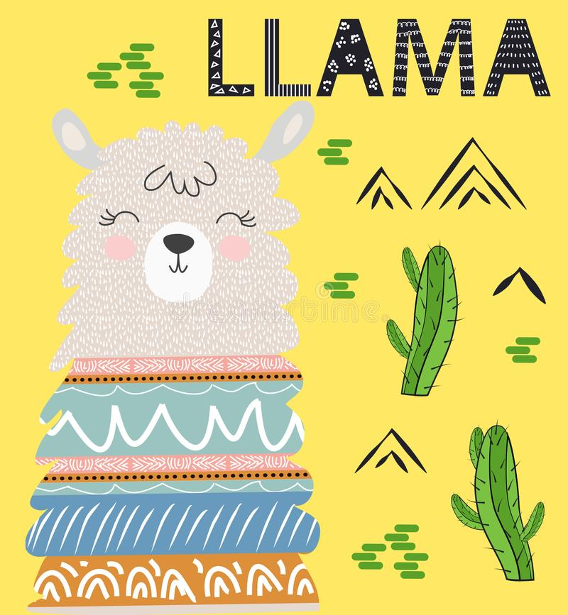 Cute cartoon llama alpaca vector graphic design set. Hand drawn llama character illustration. And cactus elements stock photography