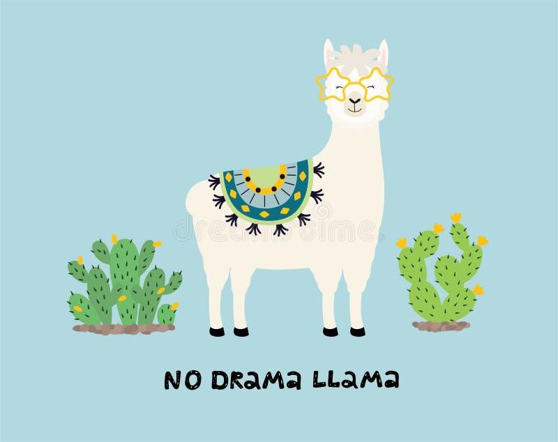 Cute cartoon llama with an inscription no drama llama royalty free illustration