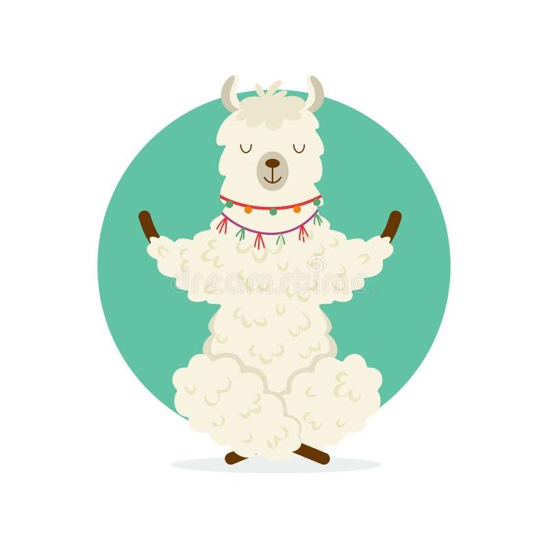 Cute cartoon llama practicing yoga pose. Animal yoga. royalty free stock photos