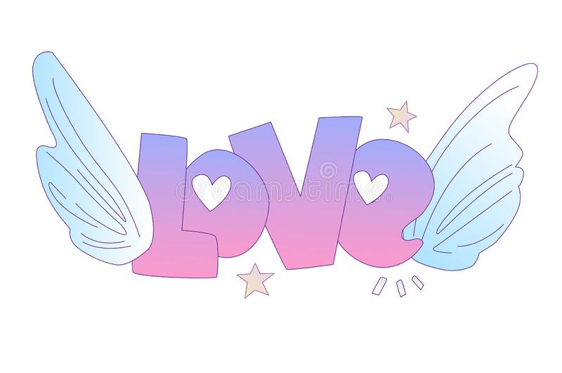 Cute cartoon Love concept. Love lettering with angel wings and stars, isolated on white. Love icon and lettering vector illustration