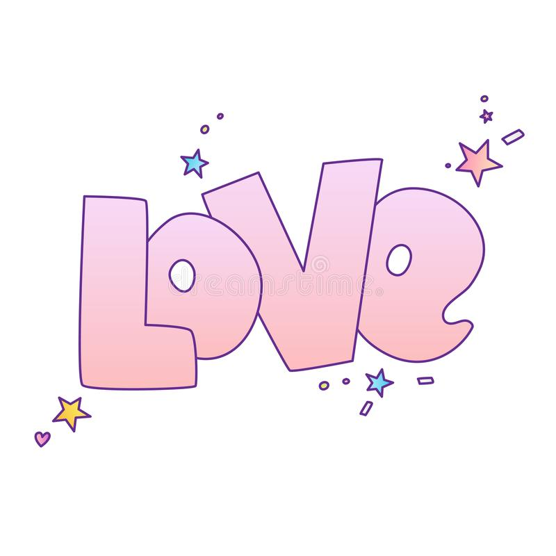 Cute cartoon Love concept. Love lettering More Love and stars, isolated on colored gradient. Love icon and lettering. Cute cartoon Loves concept. Love lettering vector illustration