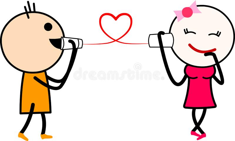 A cute cartoon love couple talking on string phone. Vector illustration of a cute cartoon love couple talking on string phone. Isolated on white background stock illustration