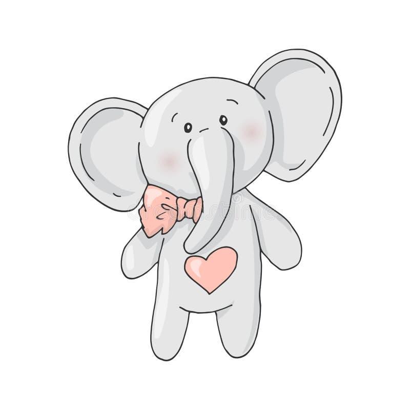 Cute cartoon lovely girl elephant. stock illustration
