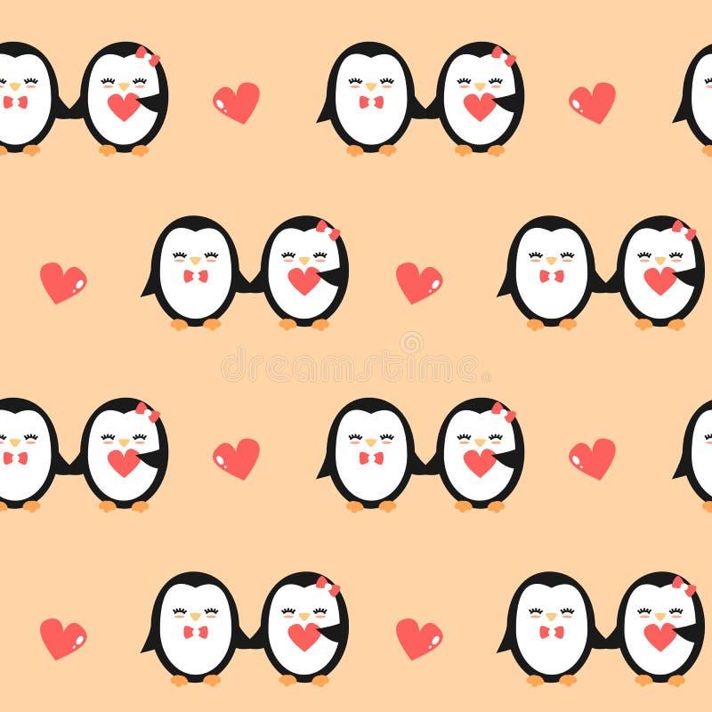 Cute cartoon lovely penguins couple seamless vector pattern background illustration royalty free illustration