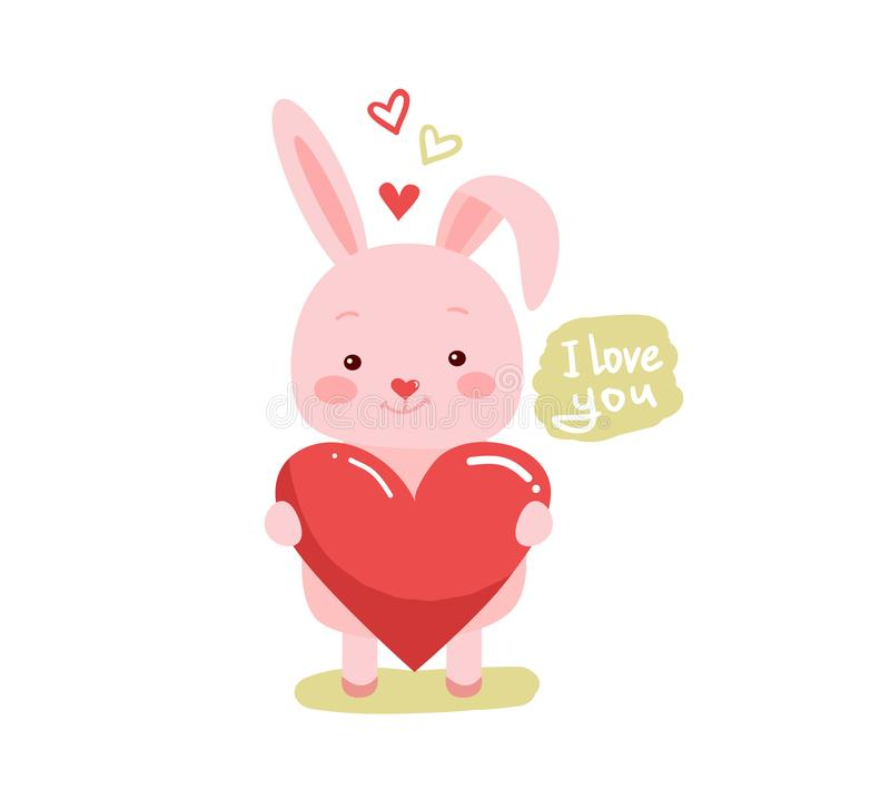 Cute cartoon lovely rabbit with pink large heart stock illustration