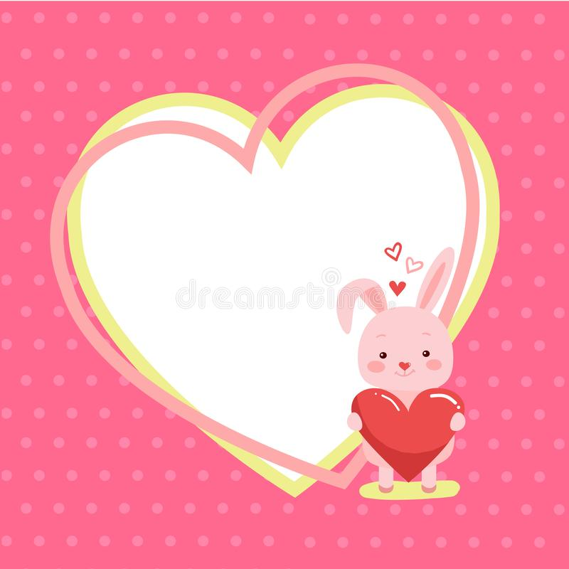 Cute cartoon lovely rabbit with pink large heart royalty free illustration