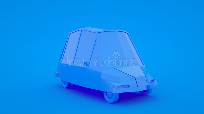 Cute cartoon low poly car 3d rendering, geometric scene on blue pastel background royalty free illustration
