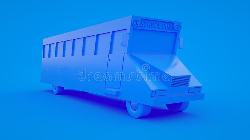 Cute cartoon low poly school bus 3d rendering, geometric scene on blue pastel background stock illustration