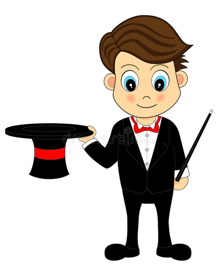 Cute Cartoon Magician With Hat and Wand stock illustration