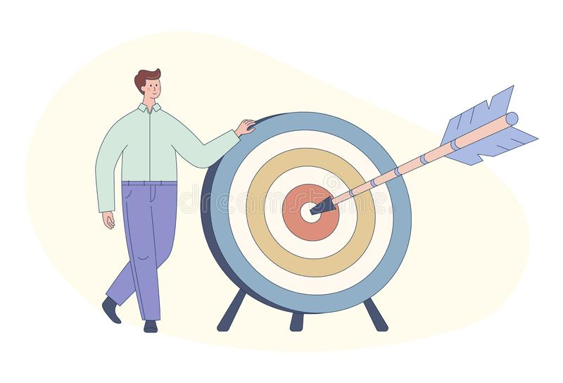 Cute cartoon man and dart board with bow arrow. Direct hit on target. Business purpose, success, goal achievement concept. vector illustration