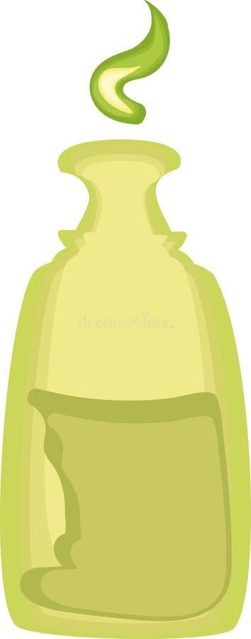 Cute cartoon medical bottle of green color stock illustration