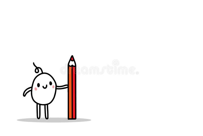 Cute cartoon ment holding big red pencil hand drawn illustration stock illustration
