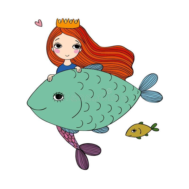 Cute cartoon mermaid and fish. Siren. Sea theme. isolated objects on white background. Vector illustration vector illustration