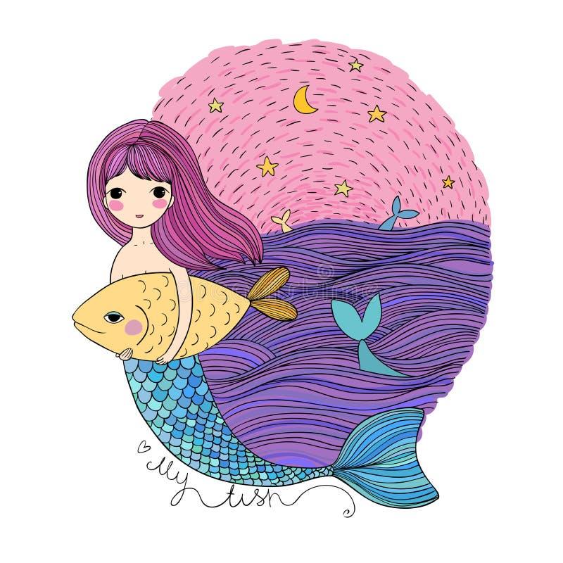 Cute cartoon mermaid and fish. Siren. Sea theme. isolated objects on white background. Vector illustration stock illustration