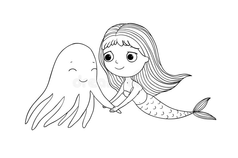 Cute cartoon mermaid and octopus. Siren. Sea theme. Hand drawing isolated objects on white background. royalty free illustration