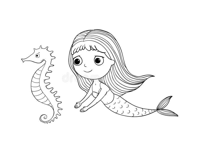 Cute Cartoon Mermaid And Sea Horse. Siren. Sea Theme. Hand