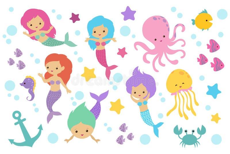 Cute cartoon mermaids, sea animals and ocean life objects vector set stock illustration