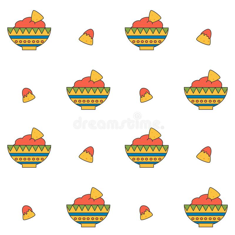 Cute cartoon mexican food seamless vector pattern background illustration royalty free illustration