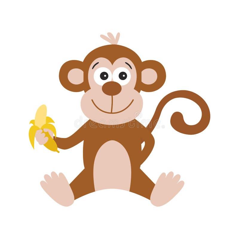 Cute cartoon monkey with banana on white background. stock illustration