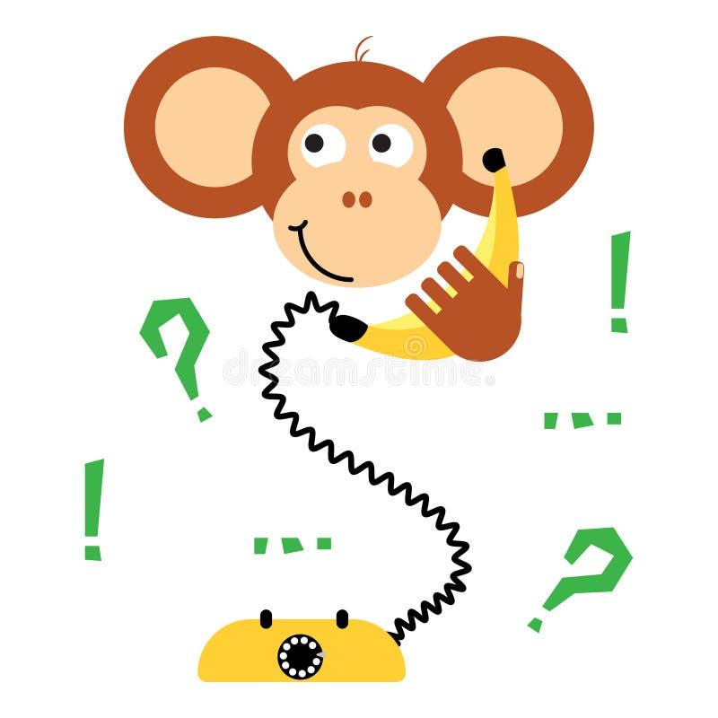 Cute cartoon monkey calling banana phone vector tee print. vector illustration