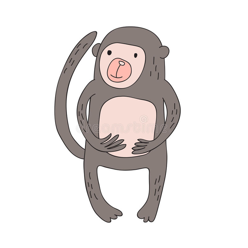 Cute cartoon monkey character, vector isolated illustration in simple style. royalty free illustration
