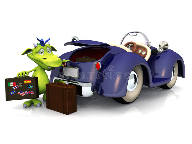 Cute cartoon monster going on a car trip. A cute friendly cartoon monster packing his luggage into the trunk of a blue car. The monster is green with blue hair royalty free illustration