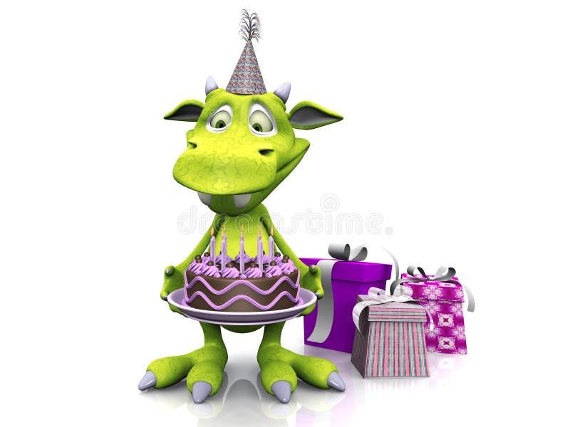Cute Cartoon Monster Holding Birthday Cake Stock Illustration