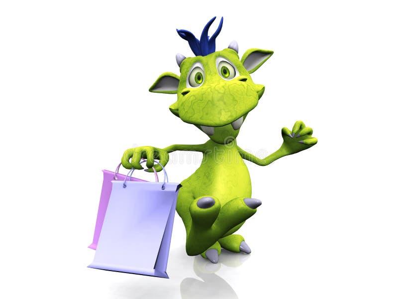 Cute cartoon monster holding shopping bags.