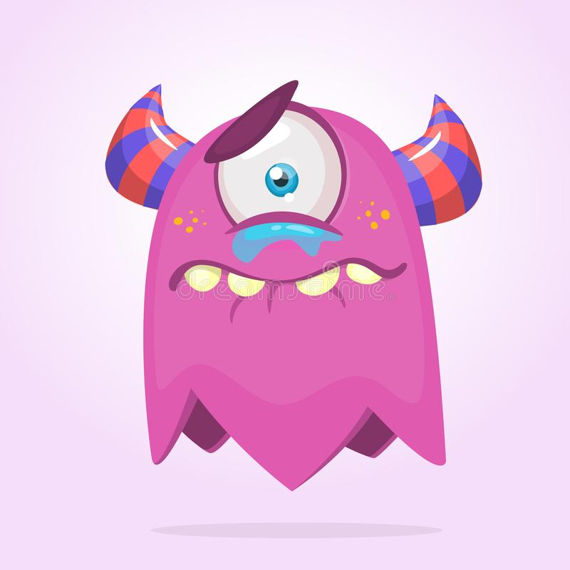 Cute cartoon monster with horns and one eye. Crying monster emotion. Halloween vector illustration. royalty free illustration
